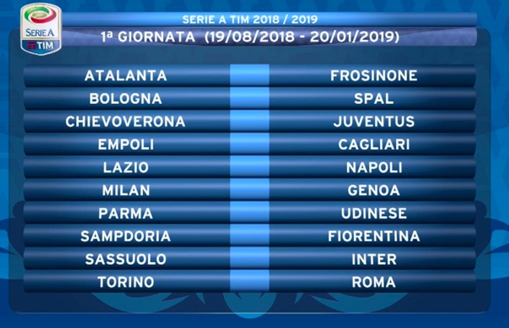 Calendario Milan Campionato.Calendario Serie A 2018 2019 Giornate Campionato Calcio
