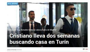 """Cristiano Ronaldo, Marca: """"Cerca casa a Torino. Ormai ha la testa lontano da Madrid"""""""