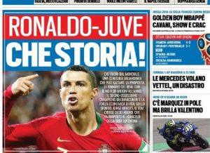 """Tuttosport: """"Cristiano Ronaldo-Juventus, il retroscena di calciomercato"""" (foto Ansa)"""