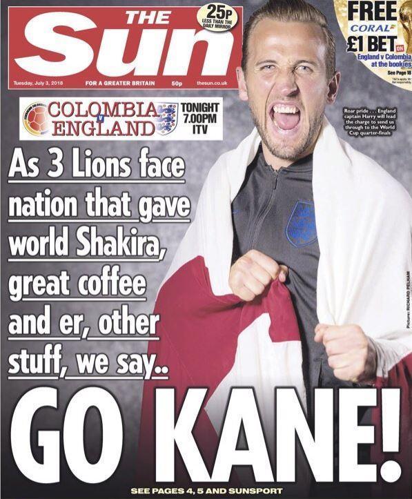 """Mondiali 2018. """"Go Kane"""" scrive il Sun. Titolo allude alla cocaina, colombiani si indignano"""