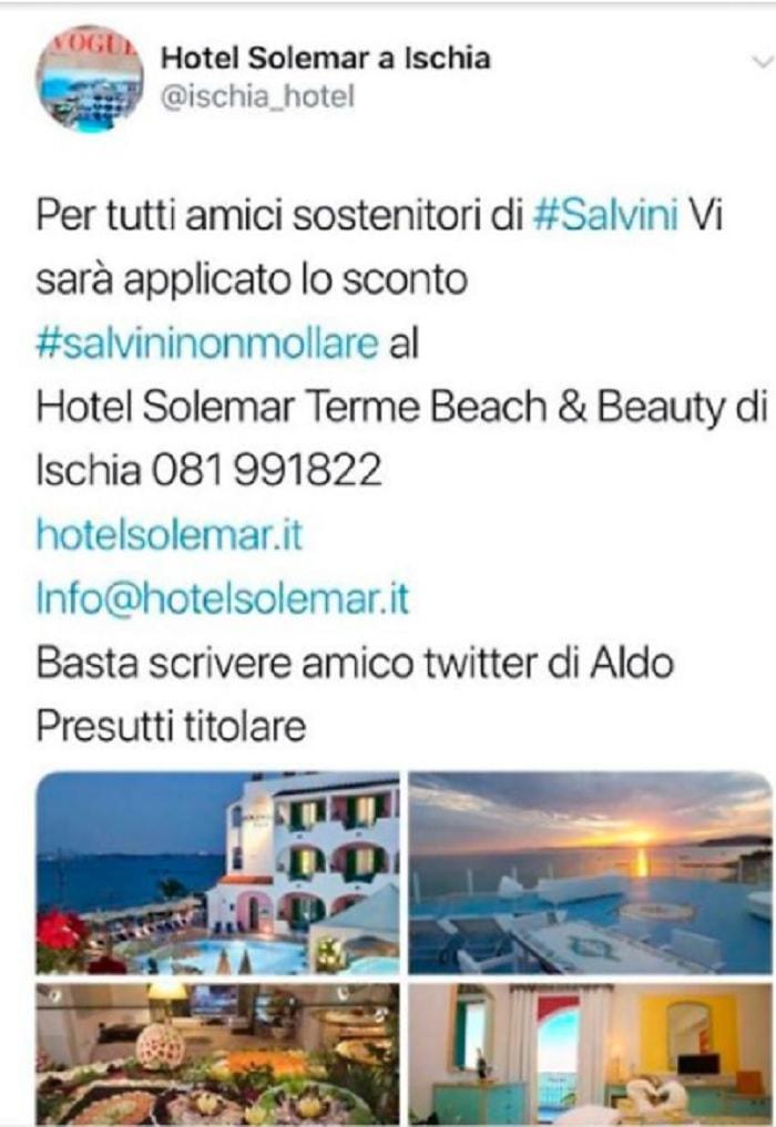 Ischia, hotel offre sconto sostenitori salvini