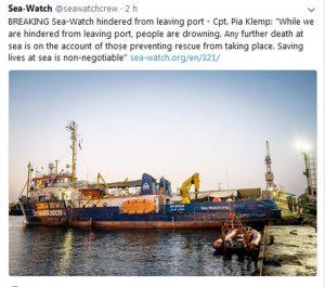 Seawatch, nave ong fermata nel porto da Malta: stop a soccorsi migranti