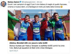 """Mondiali 2018, Salvini: """"I veri campioni di oggi sono i nostri atleti della staffetta"""""""