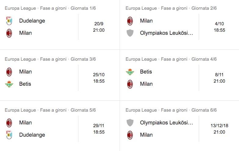 Europa League 2018-2019, calendario partite Milan: orario e date
