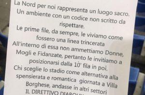 """Lazio, rivolta delle tifose ultras contro volantino sessista: """"Voi, messi al mondo da donne"""""""