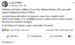 """Di Maio: """"Forze dell'ordine non possono avere ministro indagato"""". Era il 2016, era Alfano…"""