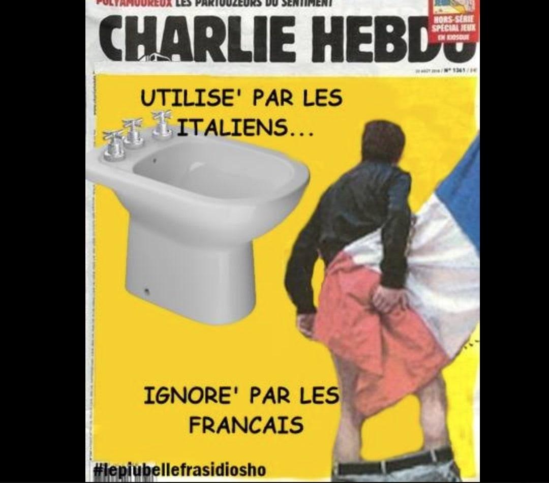 Ponte Morandi, pagina Fb Osho replica a Charlie Hebdo con la vignetta sul bidet FOTO