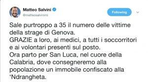 Ponte Morandi, Salvini in un tweet ringrazia le vittime del crollo