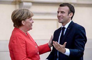 Emmanuel Macron e Angela Merkel (foto Ansa)