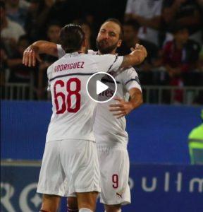 Cagliari-Milan 1-1 highlights e pagelle, Higuain ha risposto a Joao Pedro