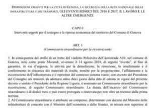Genova, ecco il decreto: Autostrade non potrà ricostruire il ponte