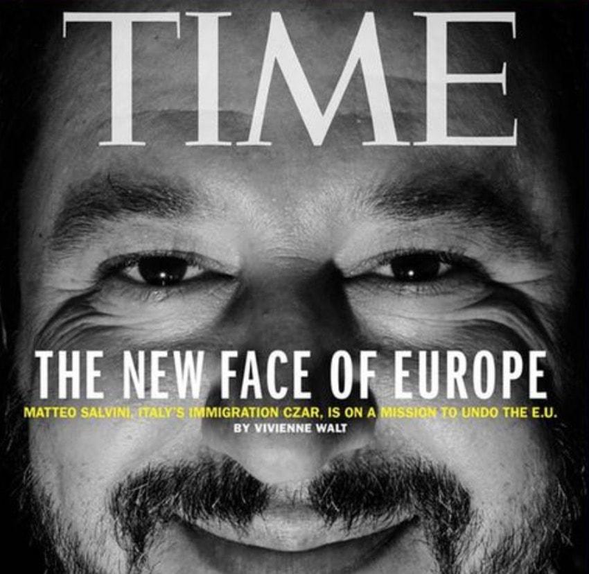 """Matteo Salvini in copertina sul Time. """"E' lui il nuovo volto dell'Europa"""" FOTO"""