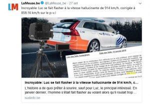 Belgio, multato perché secondo l'autovelox andava a 914 km/h ma è un errore