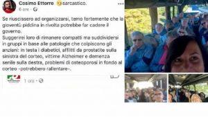 """Cosimo Ettorre, il consigliere M5s offende i manifestanti del PD: """"Diabetici, dementi, malati di Alzheimer"""""""