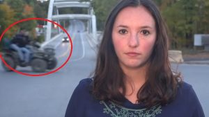 Stati Uniti, la giornalista sta per iniziare la diretta ma alle sue spalle si ribalta un quad VIDEO
