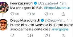 """Ivan Zazzaroni su Empoli-Juventus: """"Ma che rigore è?"""", Maradona jr: """"Bravo, è una vergogna"""""""