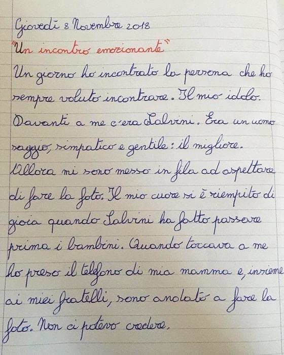 Matteo Salvini, idolo di un bambino di 9 anni di Conselve. Il tema di Tancredi FOTO