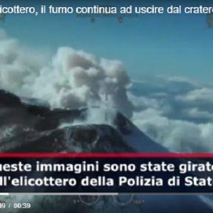 Etna visto dall'elicottero, il fumo continua ad uscire dal cratere VIDEO (Agenzia VISTA)