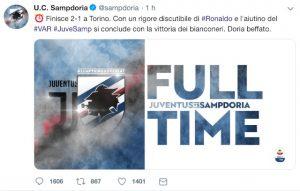 """Sampdoria: """"Juventus ha vinto con rigore discutibile di Ronaldo e aiutino del VAR"""""""