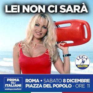 Salvini risponde a Pamela Anderson: anche lei esclusa da manifestazione