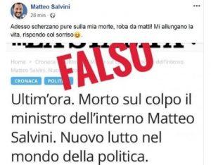 """""""Salvini morto sul colpo"""", il ministro dell'Interno commenta la fake news: """"Mi allungano la vita"""""""