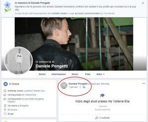 Il profilo Facebook del giovane manomesso dopo la sua morte