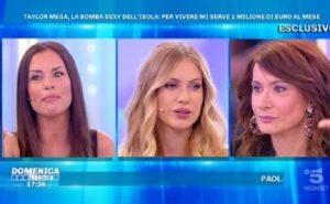 """Domenica Live, Taylor Mega dice: """"Un milione di euro al mese per vivere"""". E Vladimir Luxuria..."""