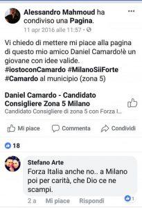 mahmood e post sostegno candidato Forza Italia
