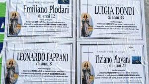 """San Paolo (Brescia), necrologi di bimbi morti. Ma sono tutti migranti: """"Funerali nel Mediterraneo"""" FOTO"""