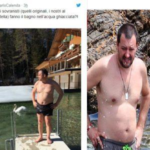 La foto pubblicata da Carlo Calenda e una foto di Matteo Salvini al mare (foto Chi)