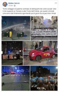 """Torino, guerriglia al corteo anarchico: assaltato bus. Salvini: """"Infami, in galera"""""""