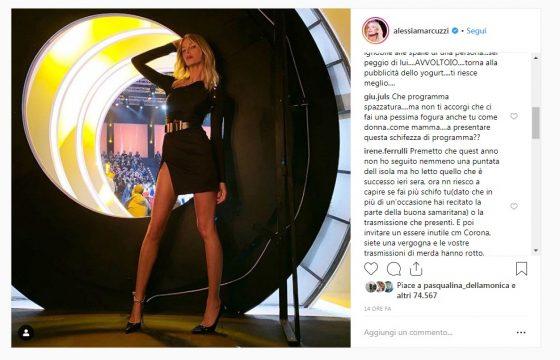 """Isola dei Famosi, tutti contro Alessia Marcuzzi su Instagram: """"Il video messaggio di Corona? Una vergogna"""" 3"""