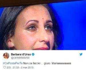 """C'è Posta per te, Barbara D'Urso commenta tutto su Twitter: """"Non ce la faccio"""""""