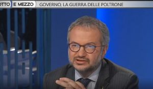 """Otto e Mezzo, Borghi (Lega): """"Spagna tra i fondatori Ue"""". La Gruber lo riprende: """"No, lei deve studiare"""" 2"""