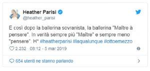"Heather Parisi contro Lorella Cuccarini: ""Da ballerina sovranista, a maitre à penser"""