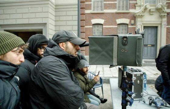 Antonio Usbergo e Niccolò Celaia durante le riprese di Lunedì