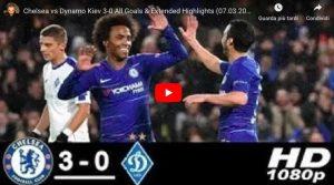Chelsea-Dinamo Kiev 3-0, Sarri ipoteca qualificazione ai quarti di Europa League