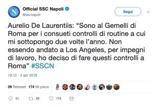 De Laurentiis all'ospedale Gemelli di Roma per controlli di routine