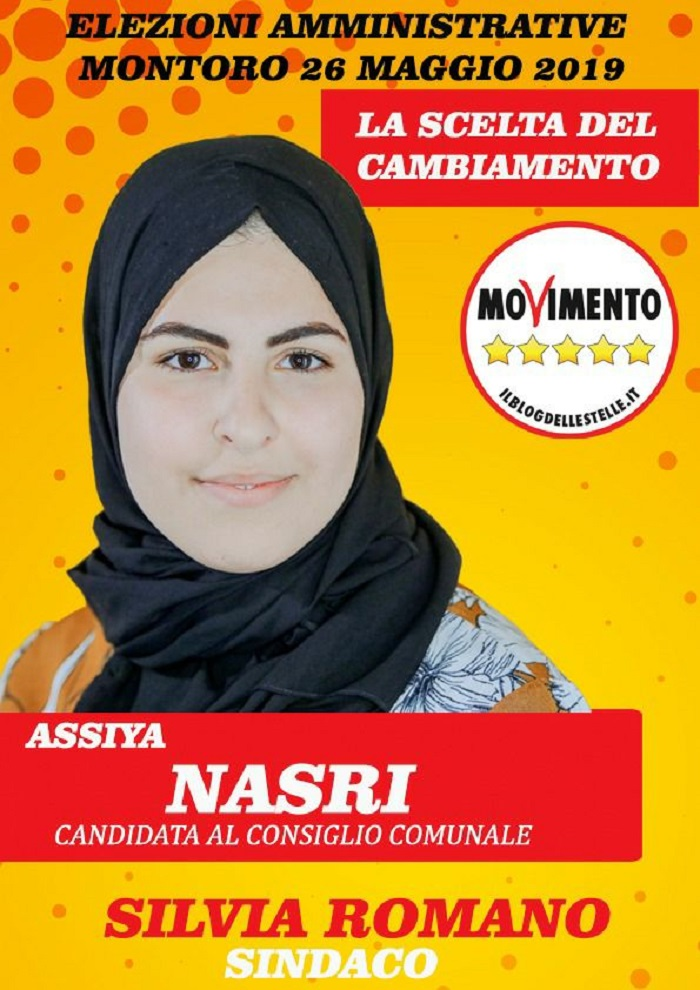 Nasri Assiya, candidata M5s a Montorio (Avellino) corre col velo islamico