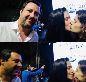 Caltanissetta, Salvini: selfie con bacio tra due ragazze