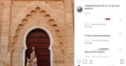 Belen Rodriguez e Stefano De Martino: vacanza insieme con Santiago