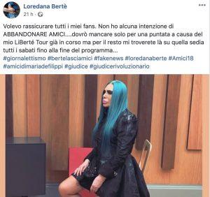 Rettifica: Loredana Bertè non lascia Amici. Resta giudice