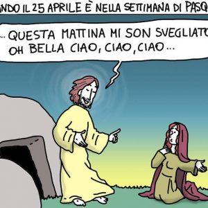 25 aprile, Don Giovanni Berti disegna Gesù partigiano: la vignetta divide il web