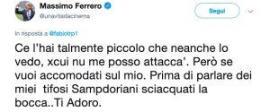 Ferrero litiga con tifoso romanista su Twitter, botta e risposta da censurare