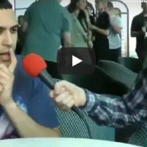 Mahmood, la domanda in inglese è troppo veloce. Lui reagisce così
