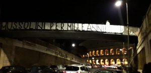 Benito Mussolini, striscione di Forza Nuova a Roma. Il secondo in pochi giorni
