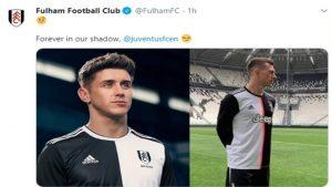 """Nuova maglia Juventus senza strisce fa discutere anche in Inghilterra, il Fulham: """"Per sempre nella nostra ombra"""""""