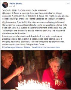 Paolo Brosio, mamma Anna compie 98 anni. Gli auguri su Facebook