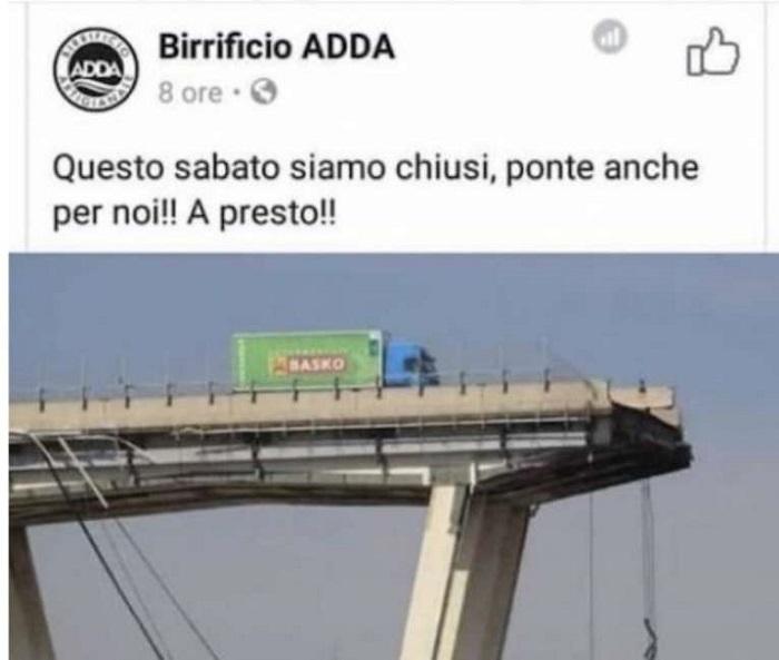 Ponte Morandi, FOTO usata per pubblicità dal birrificio bergamasco