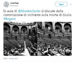 Giulio Regeni, solo 19 deputati alla Camera